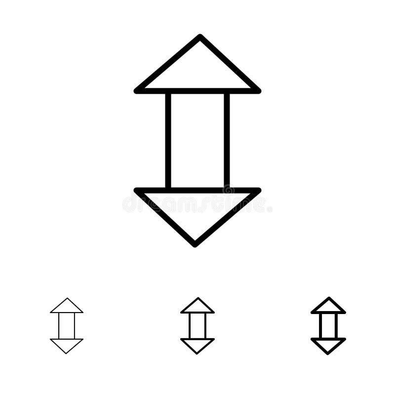 Стрелка, стрелки, вверх, вниз со смелой и тонкой черной линии набора значка иллюстрация вектора