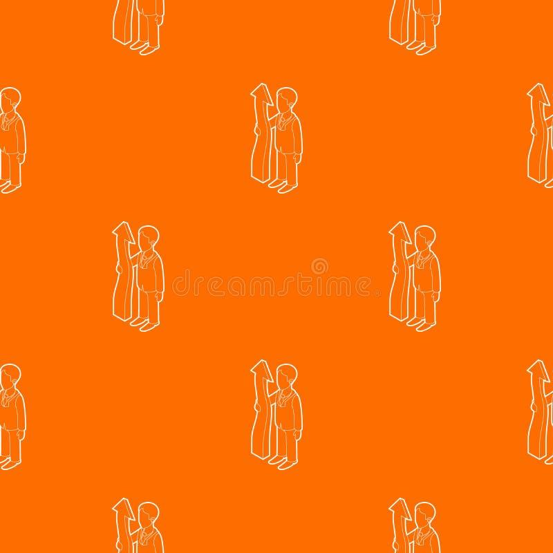 Стрелка удерживания бизнесмена вверх по апельсину вектора картины иллюстрация вектора