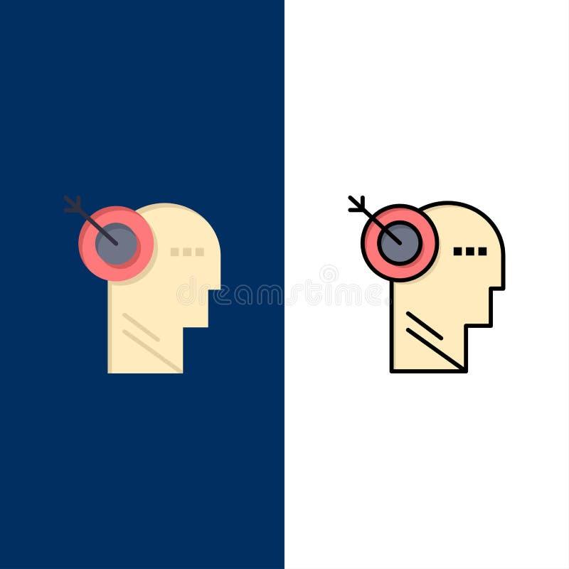 Стрелка, фокус, точность, значки цели Квартира и линия заполненный значок установили предпосылку вектора голубую иллюстрация штока