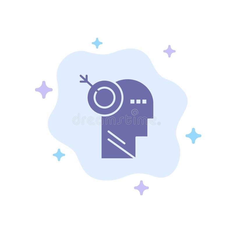 Стрелка, фокус, точность, значок цели голубой на абстрактной предпосылке облака иллюстрация вектора