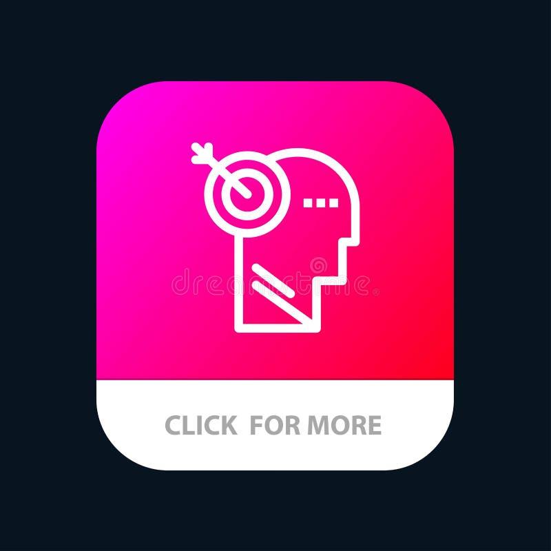 Стрелка, фокус, точность, кнопка приложения цели мобильная Андроид и линия версия IOS иллюстрация штока