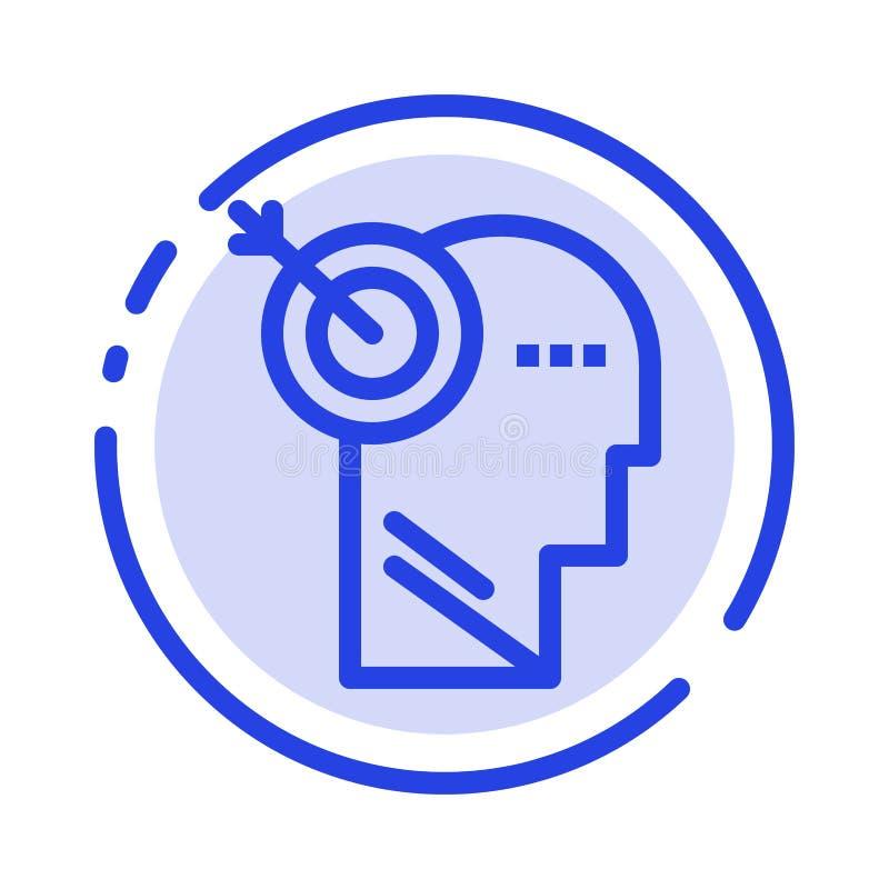 Стрелка, фокус, точность, линия значок голубой пунктирной линии цели иллюстрация штока