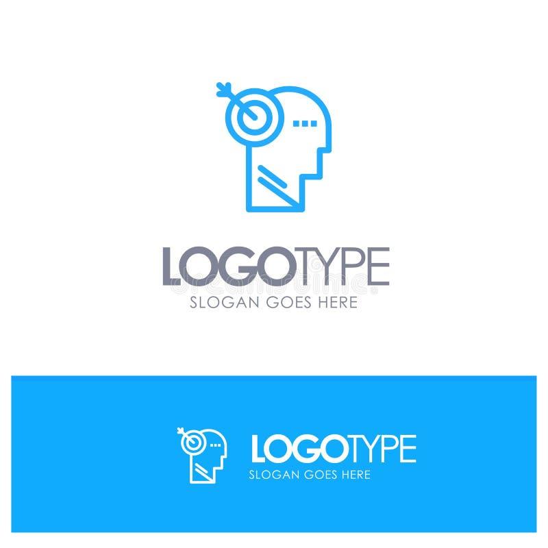 Стрелка, фокус, точность, место логотипа плана цели голубое для слогана иллюстрация штока