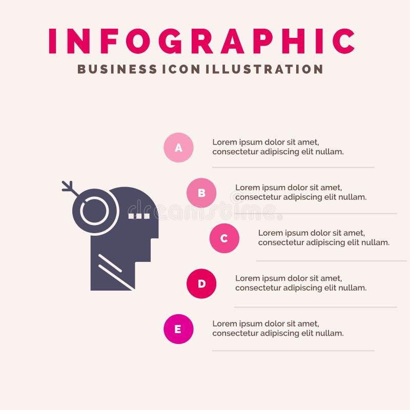 Стрелка, фокус, точность, предпосылка представления шагов Infographics 5 значка цели твердая бесплатная иллюстрация