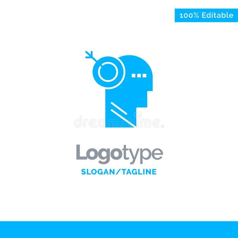 Стрелка, фокус, точность, шаблон логотипа цели голубой твердый r иллюстрация штока