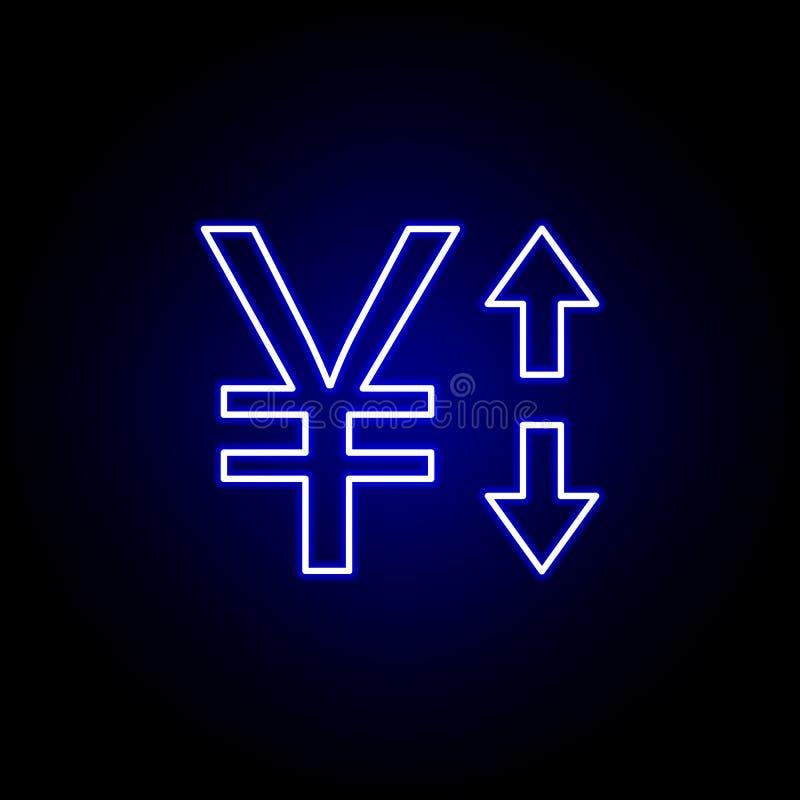 стрелка юаней вверх вниз со значка в неоновом стиле Элемент иллюстрации финансов Знаки и значок символов можно использовать для с бесплатная иллюстрация