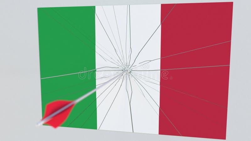 Стрелка Archery ударяет флаг плиты ИТАЛИИ Пролом национальной безопасности связал перевод 3D иллюстрация штока
