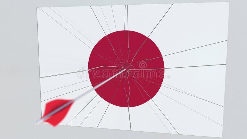 Стрелка Archery ударяет флаг плиты Японии схематический перевод 3d иллюстрация штока