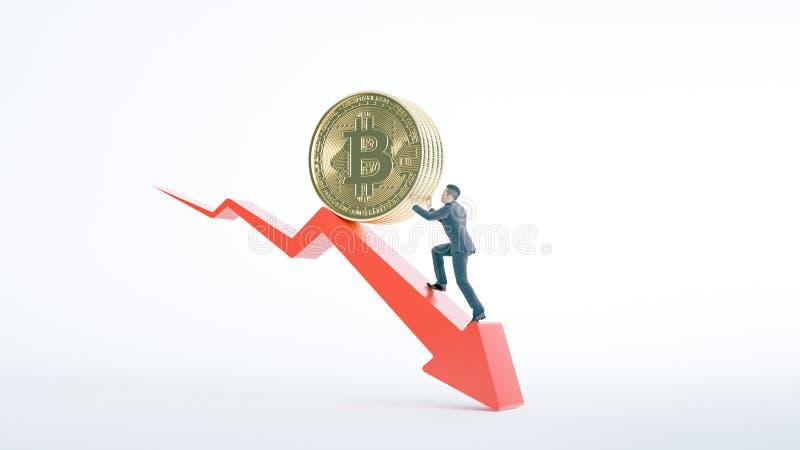 Стрелка Bitcoin вниз для увеличения ценности и бизнесмена бесплатная иллюстрация