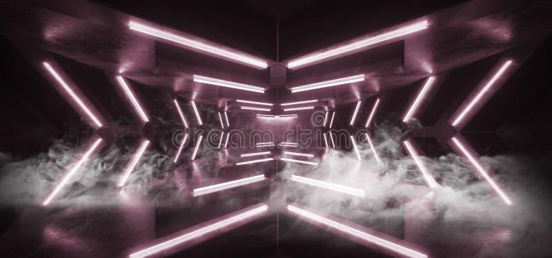 Стрелка Sci Fi дыма футуристическая сформировала Grunge коридора неоновых свет накаляя подиум живого пурпурного конкретный темный иллюстрация вектора