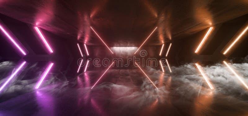 Стрелка Sci Fi дыма футуристическая сформировала Grunge коридора неоновых свет накаляя виртуальное живого оранжевого пурпурного к иллюстрация штока