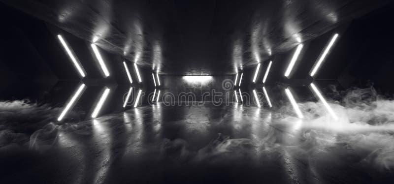 Стрелка Sci Fi дыма футуристическая сформировала Grunge коридора неоновых свет накаляя гараж подиума белого конкретный темный отр иллюстрация вектора