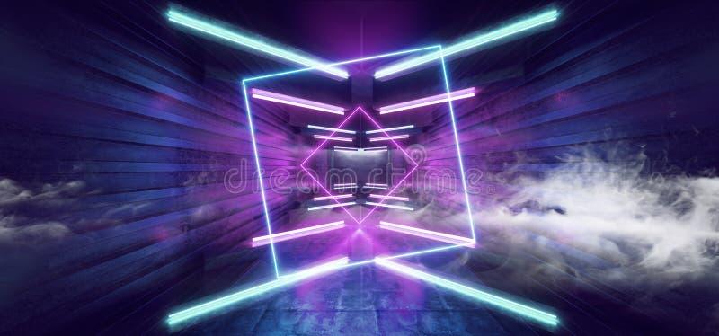 Стрелка Sci Fi дыма футуристическая сформировала Grunge коридора неоновых свет накаляя виртуальное живого голубого пурпурного кон иллюстрация вектора
