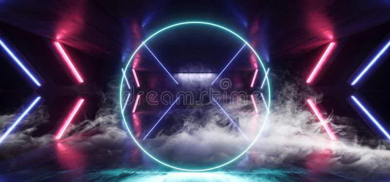 Стрелка Sci Fi дыма футуристическая сформировала Grunge коридора неоновых свет накаляя виртуальное живого голубого пурпурного кон бесплатная иллюстрация