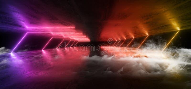 Стрелка Sci Fi неоновых свет дыма футуристическая сформировала радугу накаляя на тоннеле подземного гаража потолка пола Grunge ко иллюстрация вектора