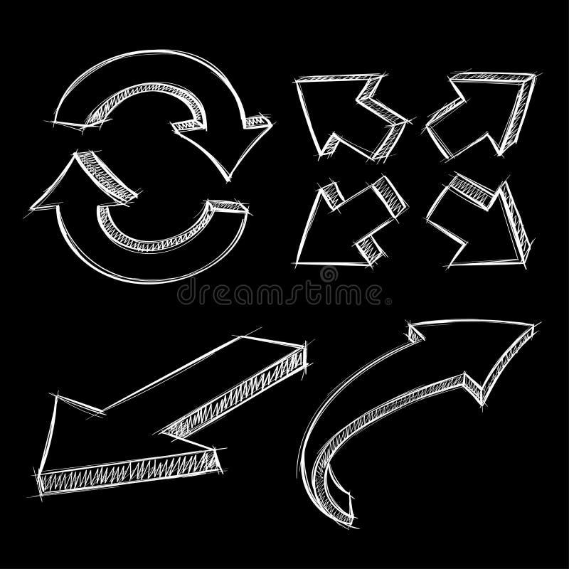 Стрелки Белой эскиз нарисованный рукой на черной предпосылке бесплатная иллюстрация