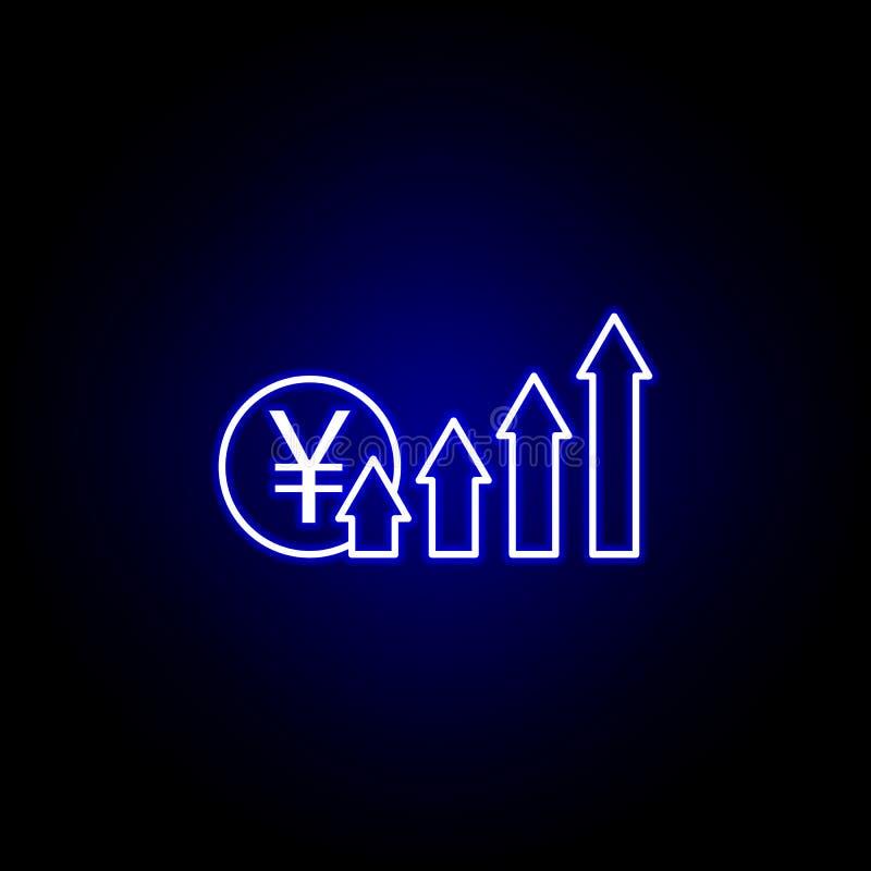 стрелки вверх по значку юаней в неоновом стиле Элемент иллюстрации финансов Знаки и значок символов можно использовать для сети,  иллюстрация штока