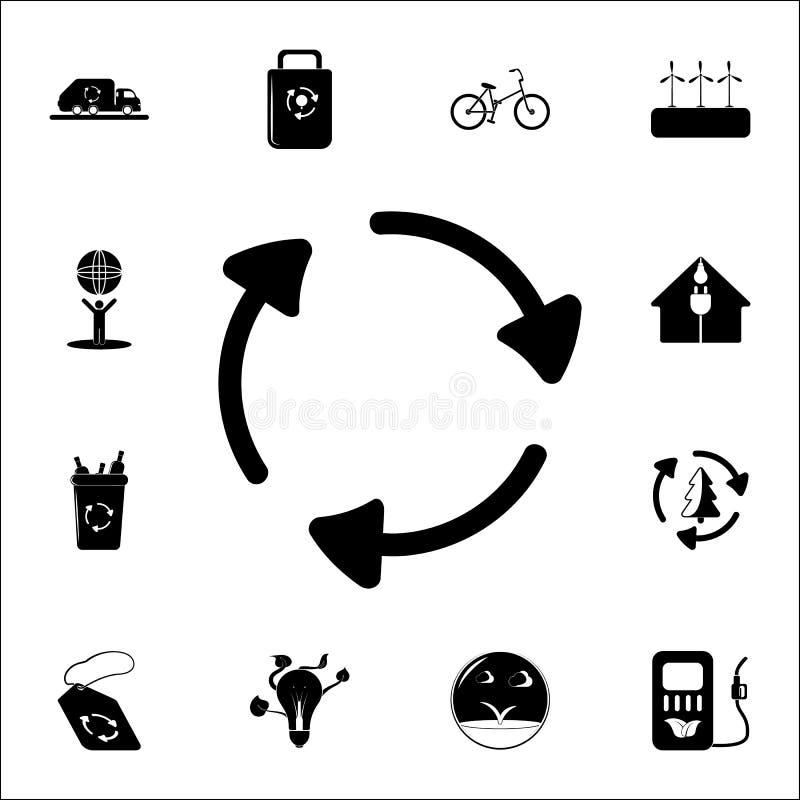 стрелки в значке круга Комплект значков экологичности всеобщий для сети и черни иллюстрация вектора