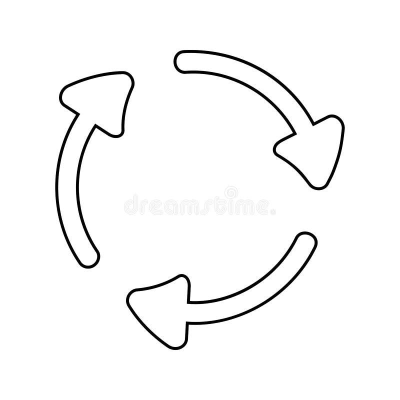 стрелки в значке круга Элемент безопасности кибер для мобильных концепции и значка приложений сети Тонкая линия значок для дизайн бесплатная иллюстрация