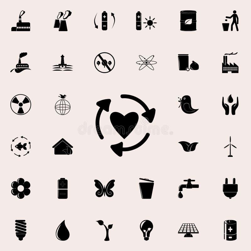 стрелки в круге значка сердца Детальный комплект значков экологичности Наградной качественный знак графического дизайна Одно из с иллюстрация штока