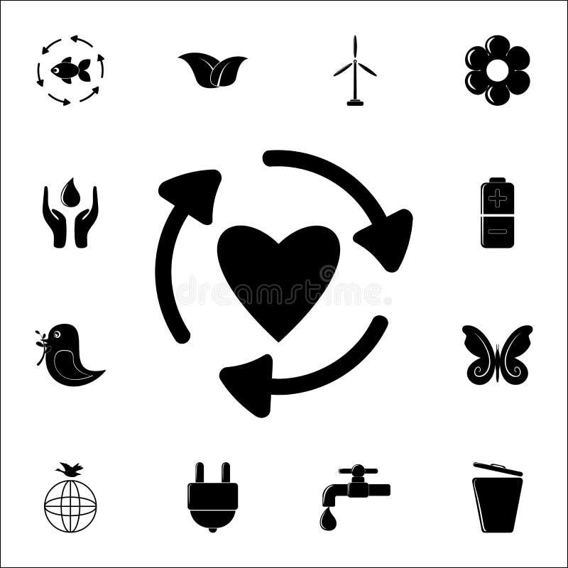 стрелки в круге значка сердца Комплект значков экологичности всеобщий для сети и черни бесплатная иллюстрация