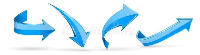 стрелки голубые сеть икон 3d иллюстрация вектора