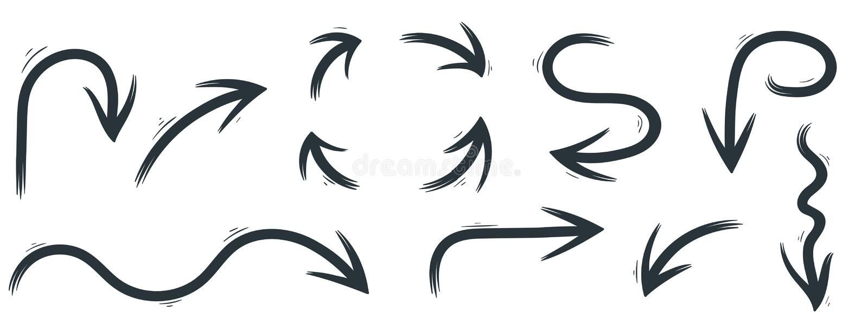 Стрелки нарисованные рукой черные бесплатная иллюстрация