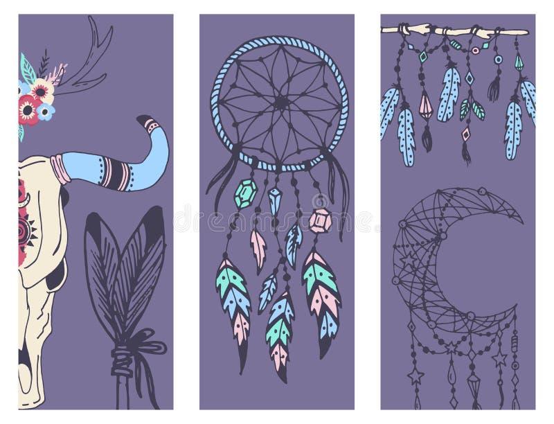 Стрелки пер mady творческого знамени стиля boho этнические и флористические элементы vector иллюстрация бесплатная иллюстрация