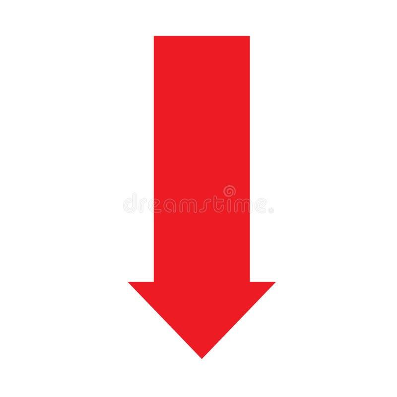 стрелки предпосылки белизна вектора иллюстрации иконы вниз Плоский стиль стрелка вниз со значка для вашего дизайна вебсайта, лого иллюстрация вектора