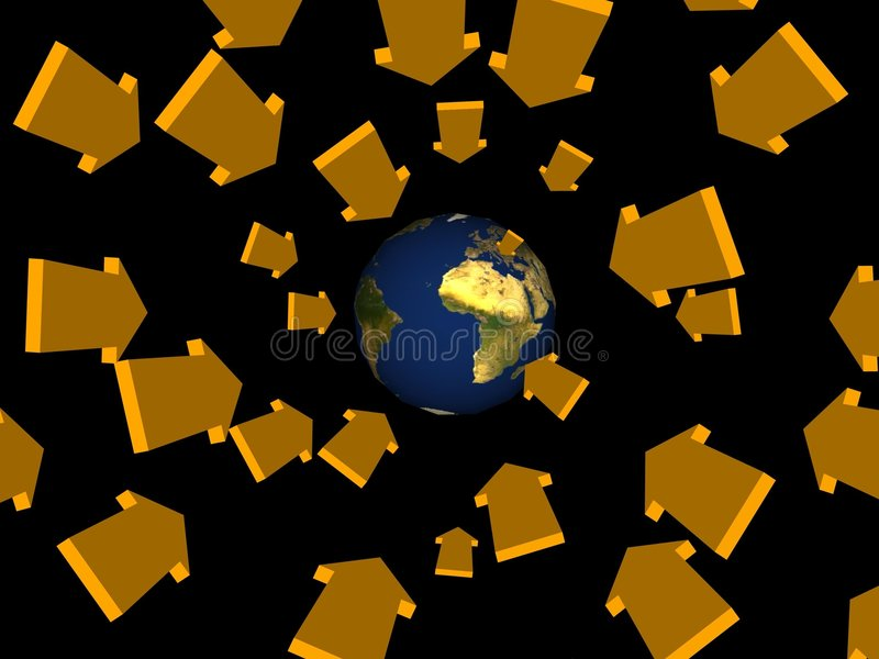 стрелки приходят космос иллюстрация штока