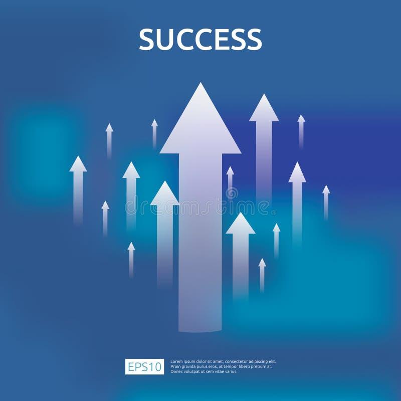 стрелки роста дела к концепции успеха ROI рентабельности инвестиций монетки кучи стога доллара и сумка денег выгода увеличения ди бесплатная иллюстрация