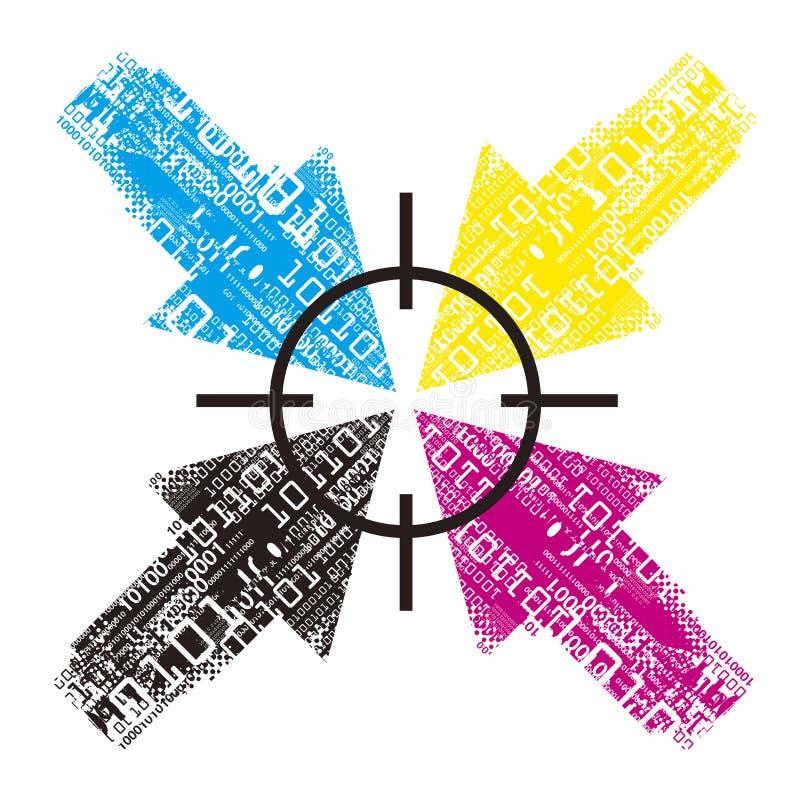 Стрелки с бинарными кодами, данными по печати иллюстрация штока