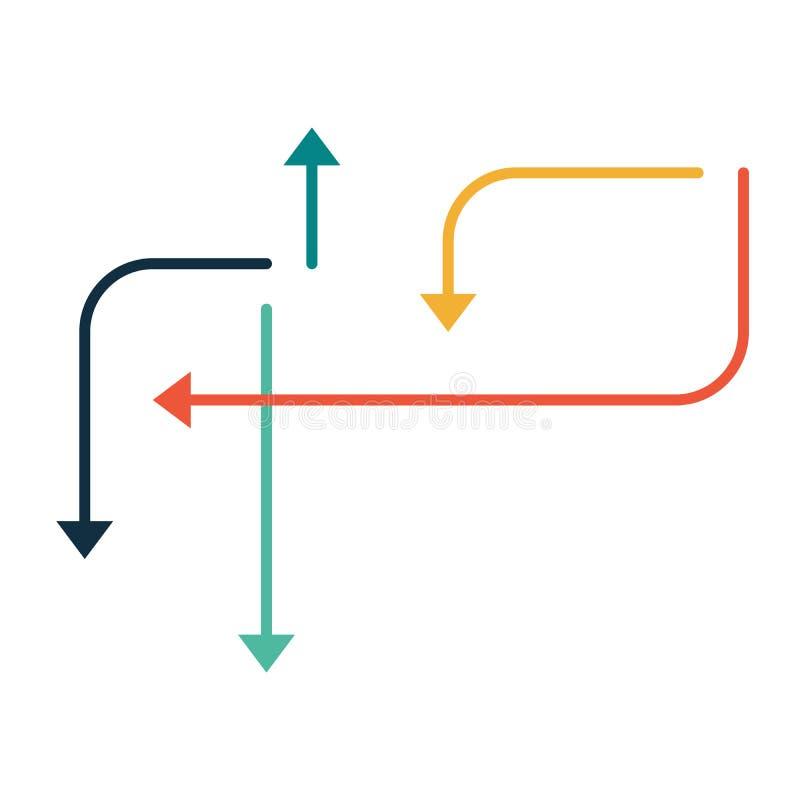 Стрелки указывая в различные dirrections Infographics установило элементы или абстрактную предпосылку Иллюстрация вектора изолиро иллюстрация штока