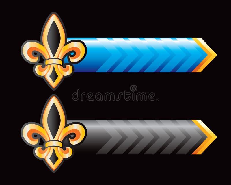 стрелки черный голубой de fleur lis иллюстрация вектора