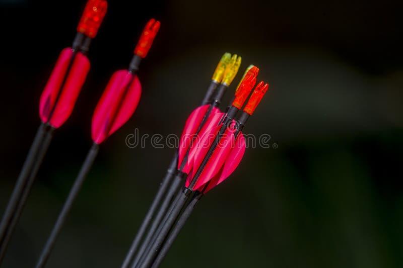Стрелки Archery на черной предпосылке стоковое фото
