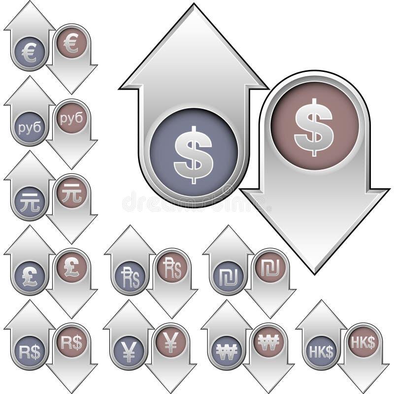стрелок валюты international икон вниз вверх иллюстрация вектора