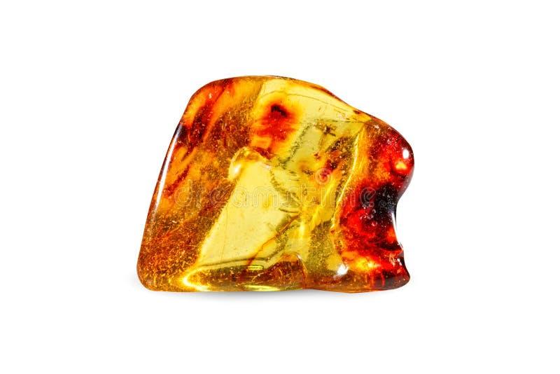 Стрельба макроса естественной драгоценной камня Отполированный янтарь Камень самоцвета На белой предпосылке стоковое фото rf