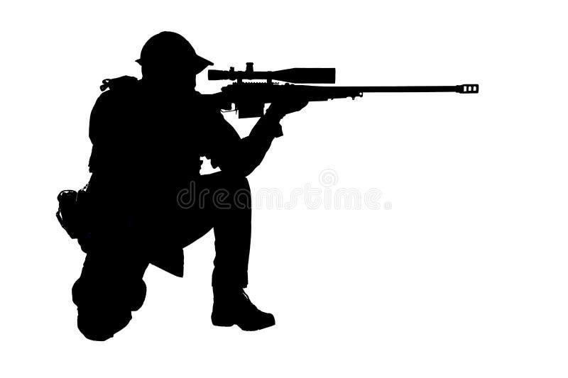 Стрельба снайпера СВАТ полиции в положении усаживания стоковое фото