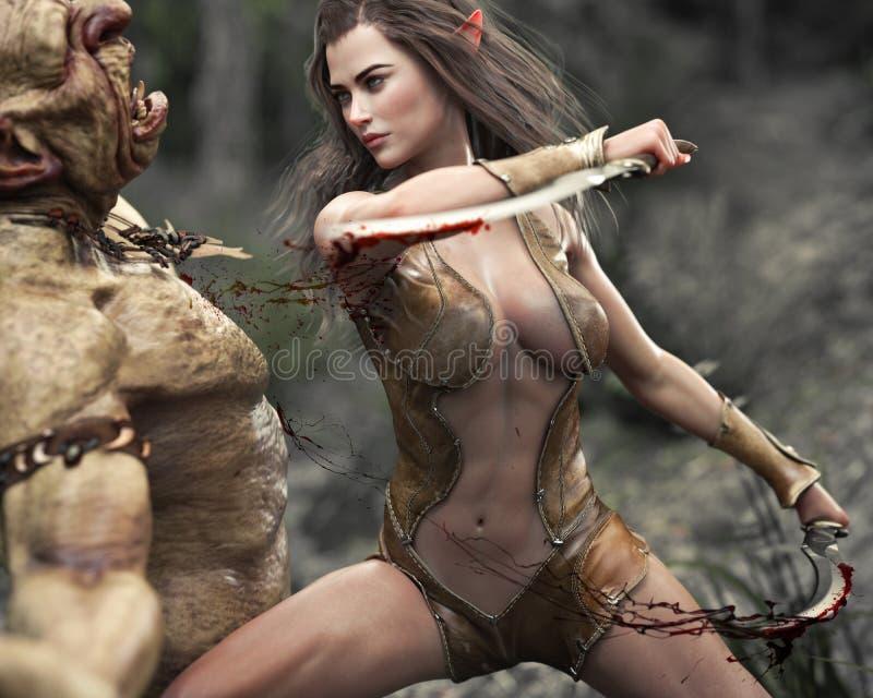 Стремительный женский деревянный воин эльфа делая быструю работу атакуя тролля иллюстрация вектора