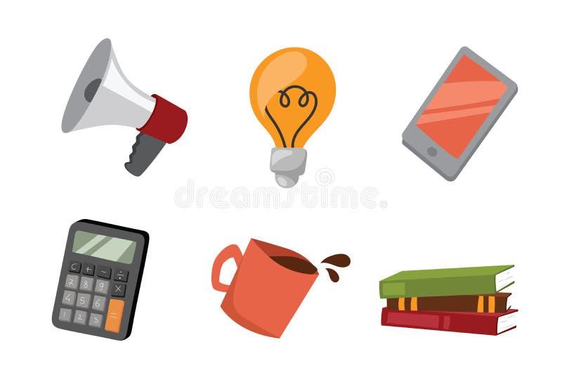 Стресс дела изолировал калькулятор кофе идеи лампы отчете о встречи портативного магнитофона концепции жизни офиса иллюстрации ве иллюстрация вектора