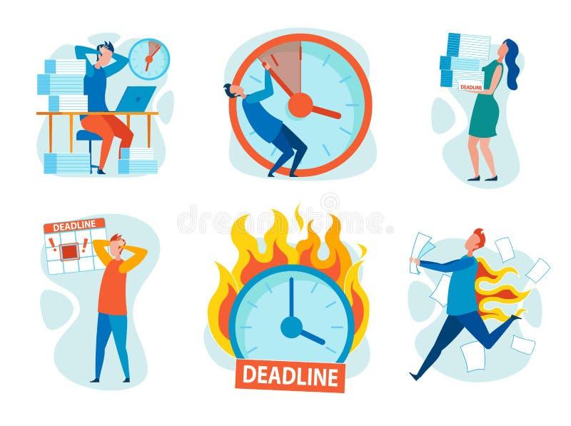 Стресс набора от ломать мультфильм крайних сроков плоско бесплатная иллюстрация