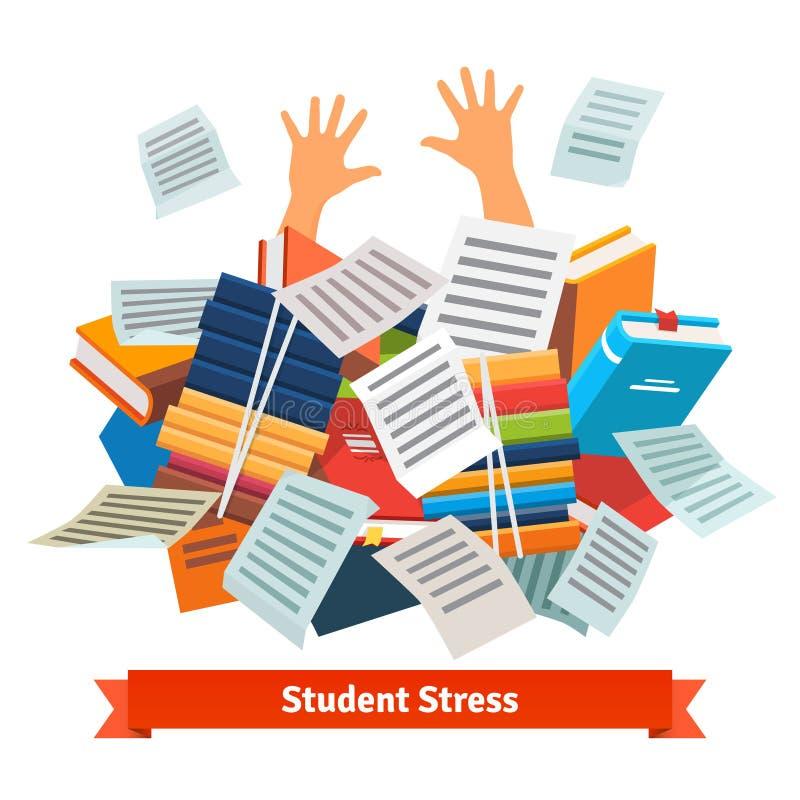 Стресс студента Изучать похороненный под кучей книги стоковое изображение rf