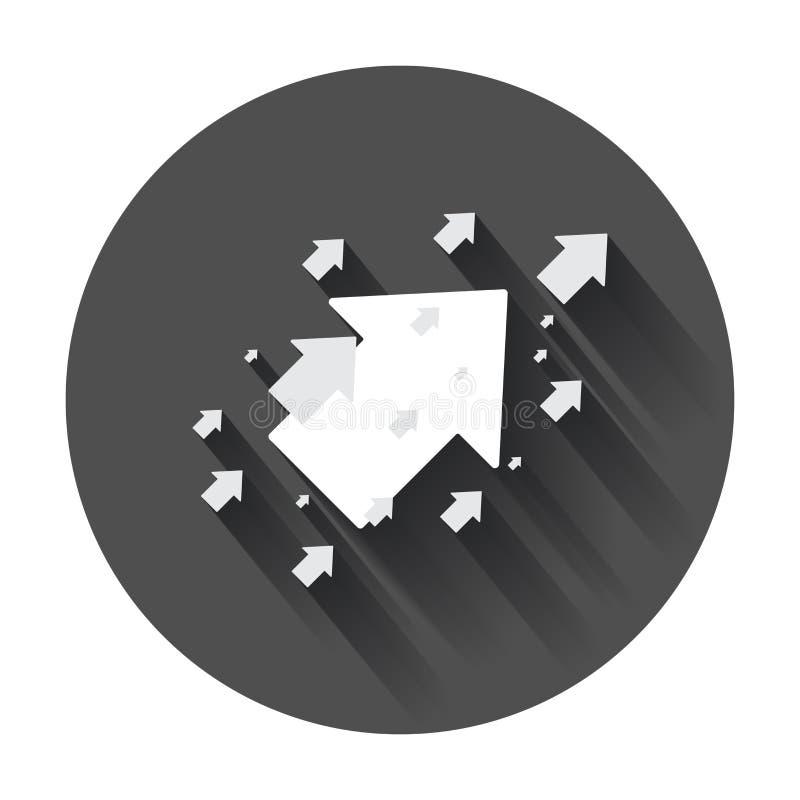 Стрелка вверх по значку вектора Передняя иллюстрация знака стрелки Бизнес иллюстрация вектора