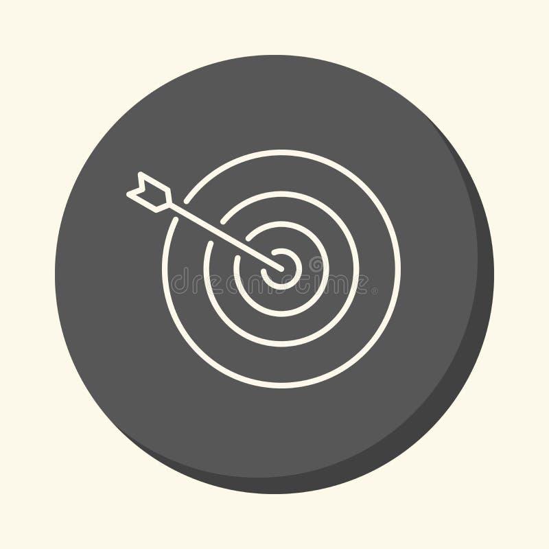 Стрелка вставляя вне точно от центра цели, кругового линейного значка с иллюзией тома, простым co иллюстрация вектора