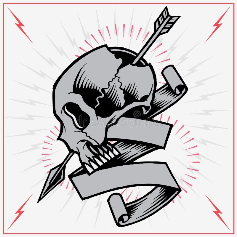 Стрелка и лента черепа бесплатная иллюстрация