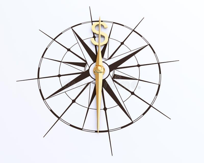 Стрелка компаса денег стоковые изображения rf