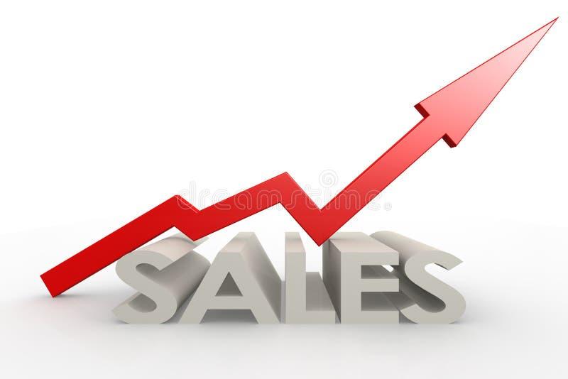 Стрелка красного цвета верхняя с словом продаж иллюстрация вектора