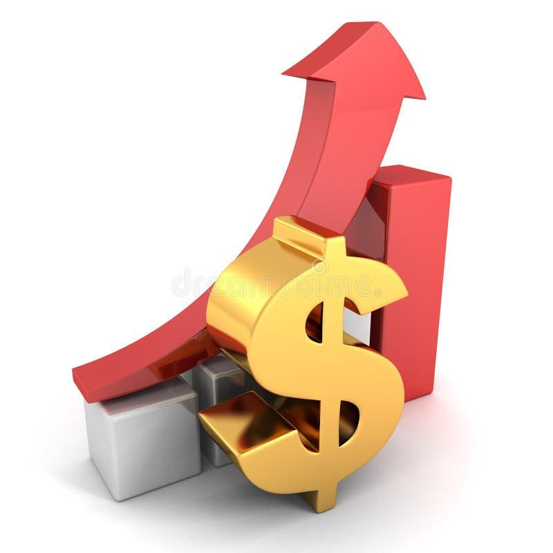 Стрелка красного цвета диаграммы диаграммы в виде вертикальных полос успеха золотого доллара финансовая бесплатная иллюстрация