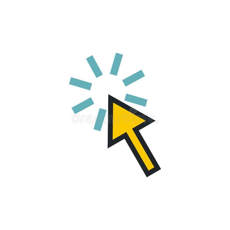 Стрелка курсора указывает значок, плоский стиль иллюстрация штока