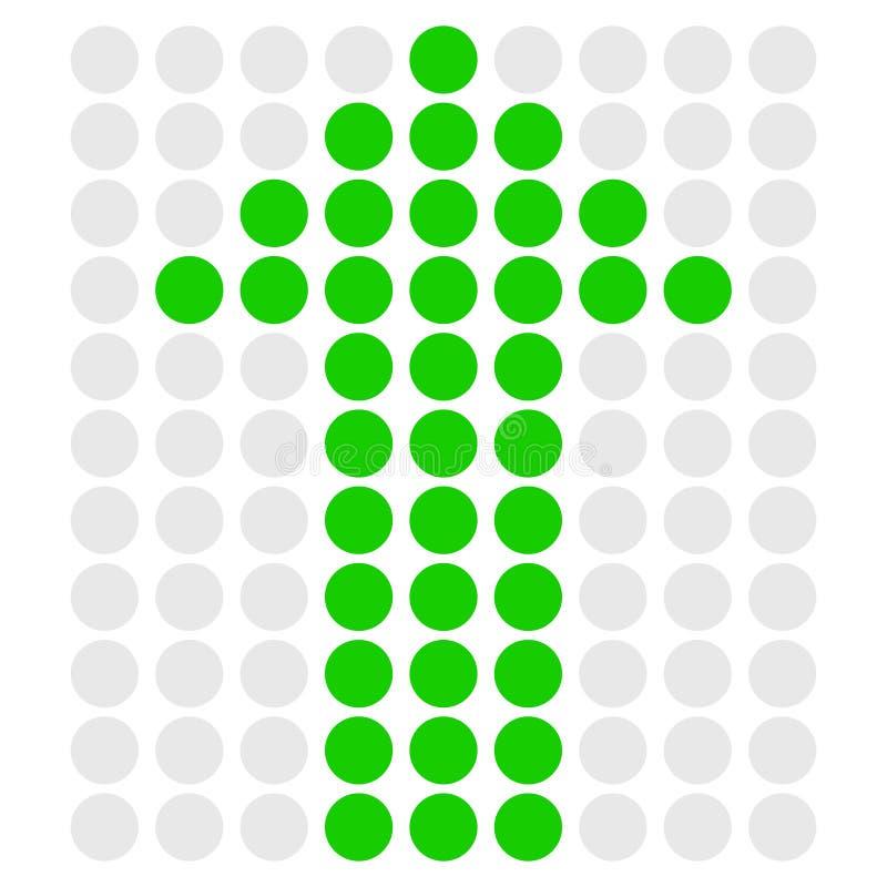 Стрелка поставленная точки зеленым цветом указывая вверх вектор иллюстрация вектора